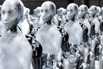 Rows of robot workers standing at attention and awaiting orders, from I, Robot