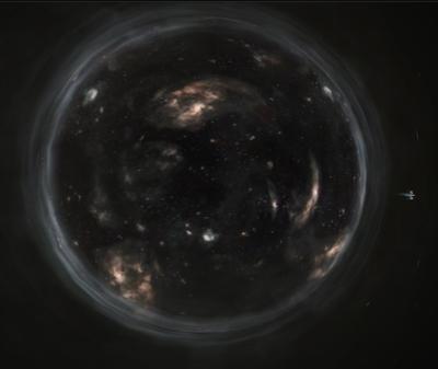 The Endurance orbits the wormhole in Interstellar.