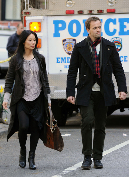Lucy Liu as Joan Watson and Jonny Lee Miller as Sherlock Holmes on Elementary