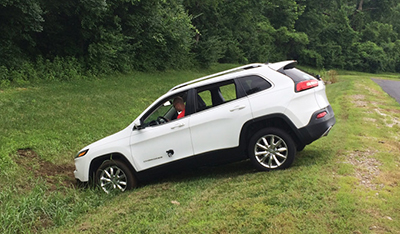 jeep in a ditch