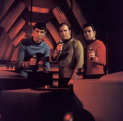 Spock, Kirk, Scotty in Engineering