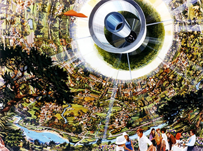 interior of a rotating orbital habitat, with suburban-style greenspaces and large open areas.