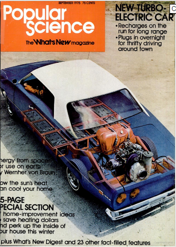 Turbine-electric car on Popular Science cover, 1975