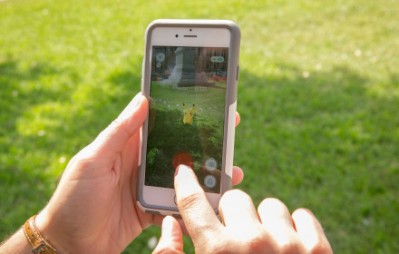 Sarah Boutwell plays the augmented-reality smartphone game Pokémon Go