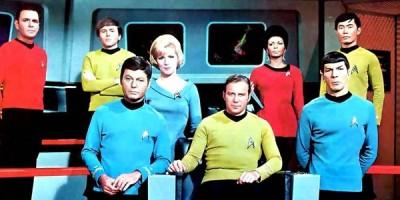 Star Trek TOS bridge crew: Scotty, Chekov, McCoy, Chapel, Kirk, Uhura, Spock, Sulu