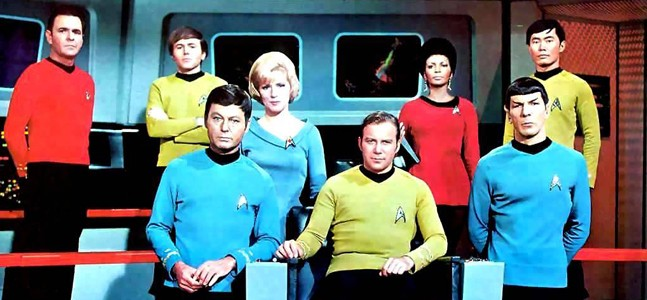 Star Trek TOS bridge crew: Scotty, Chekov, McCoy, Chapel, Kirk, Uhura, Spock, Sulu