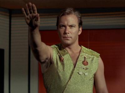 Kirk salutes in Mirror Mirror
