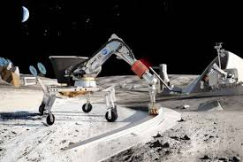 robots building a habitat on the Moon