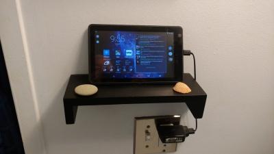 bathroom appliance mounted on shelf