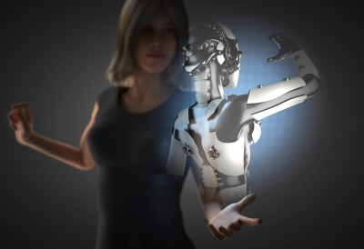 woman and robot