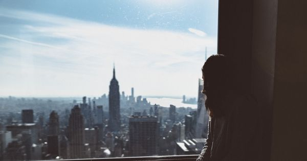 New York city skyline from a girl's apartment view