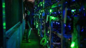 Chinese bitcoin mine: a server farm in a dark room