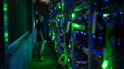 Chinese bitcoin mine: a server farm in a dark room