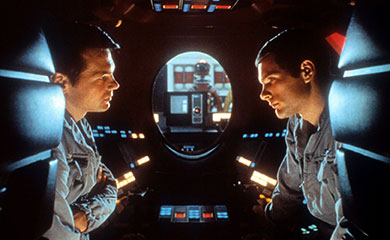 Poole and Bowman in pod, talking about HAL