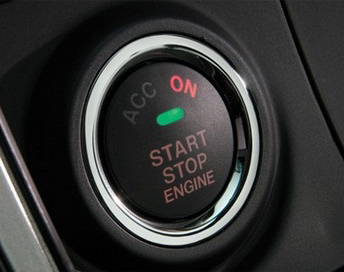 A vehicle's keyless start-stop button.