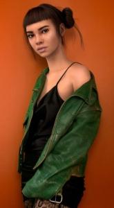 Lil' Miquela, a CGI avatar on Instragram, striking a fashionable pose.