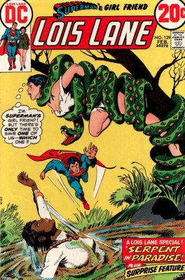 Lois Lane DC comics cover: Lois is caught by a deadly snake, another woman is about to drown in quicksand, and Superman only has time to save one of them.
