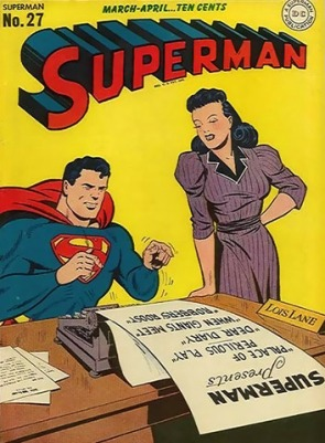 Superman DC Comics cover: Superman types a list of story titles as Lois Lane watches over him