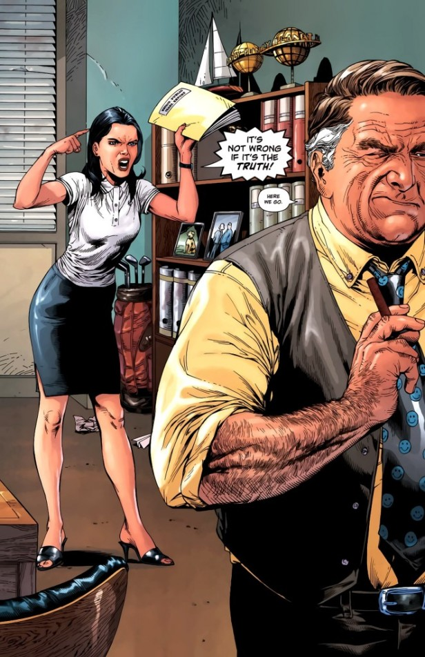 Lois Lane yells at Perry White over a news story.