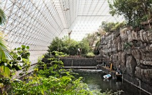 The interior of Biosphere II, a self-contained natural environment with plants, insects and water bodies.