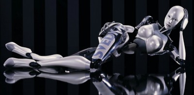 A humanoid female robot, reclining on a reflective floor, designed for Svedka vodka
