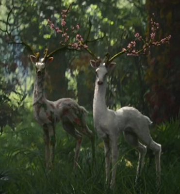 mutant deer with flowery antlers