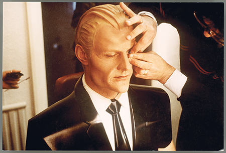 Matt Frewer being transformed into Max Headroom via makeup and facial appliances