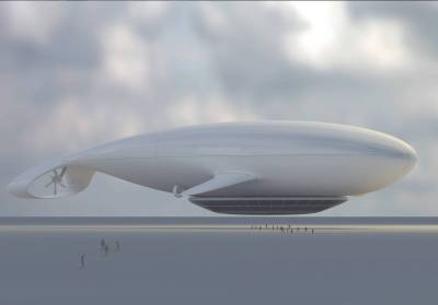 depiction of the Manned Cloud dirigible