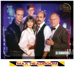 Cast of the Max Headroom TV series on ABC: Matt Frewer, Chris Young, Amanda Pays, Jeffrey Tambor and George Coe