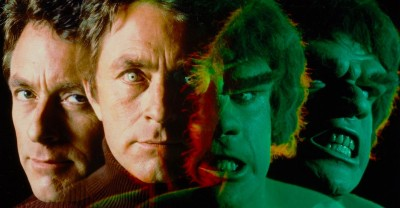 Bill Bixby and Lou Ferrigno morph from David Banner to Hulk