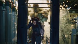 An enraged Hulk chases teammate Black Widow