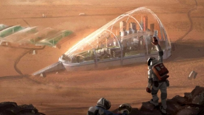 Men in space suits wave toward a colony on the surface of Mars