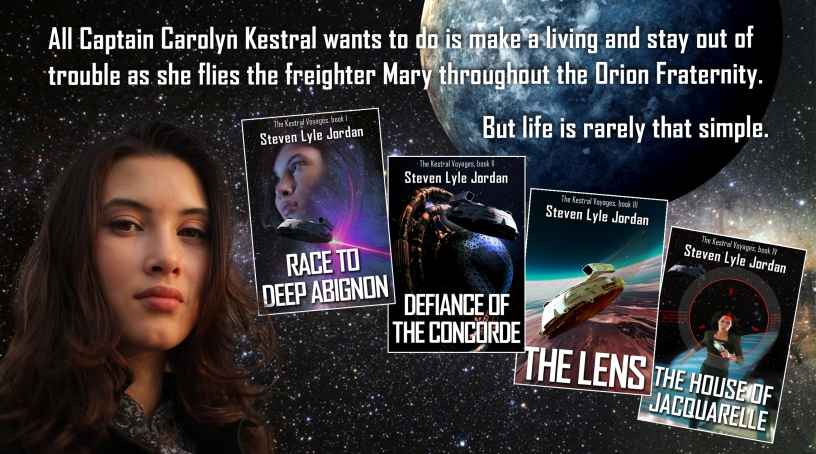 Kestral promotional banner: All Captain Carolyn Kestral wants to do is to make a living and stay out of trouble as she flies the freighter Mary throughout the Orion Fraternity. But life is rarely that simple.