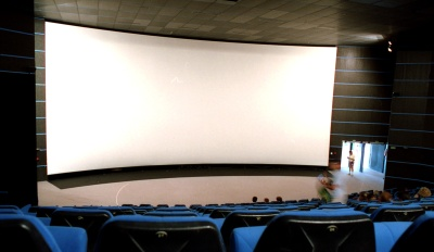 A Showscan theater's extra-wide screen
