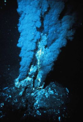 a hydrothermal vent, or deep smoker, spewing heat and minerals into the sea
