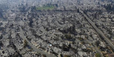 acres of homes destroyed by the California wildfires