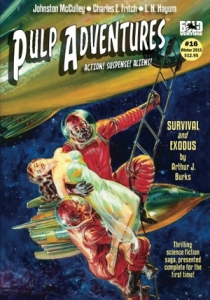 cover of Pulp Adventures magazine, depicting two astronauts in space carrying a negligee-clad woman onto a space ship