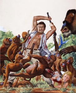 A hero and his lady friend struggle to fight off a horde of attacking baboons.