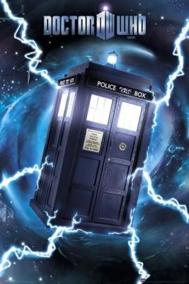 the TARDIS flies through space and time, electricity and otherworldly energies flowing around it.