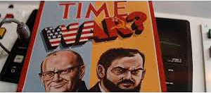 Arthur C. Clarke and Stanley Kubrick stand in as American and Russian leaders on a Time cover.