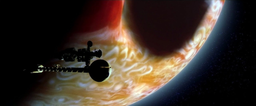 Spacecrafts Discovery and Leonov prepare to escape a Jupiter being consumed by the monoliths in 2010: The Year We Make Contact.