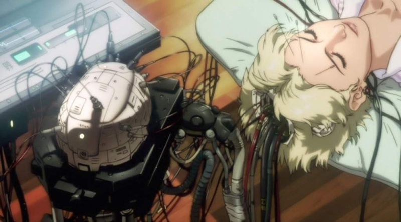 a hacked cyber-brain being examined, from Ghost in the Shell