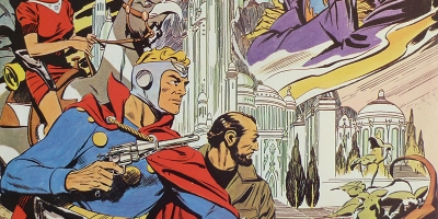 Flash Gordon, Dr. Zarkov and Dale Arden on Mongo