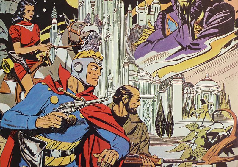 Flash Gordon, Dr. Zarkov and Dale Arden on Mongo