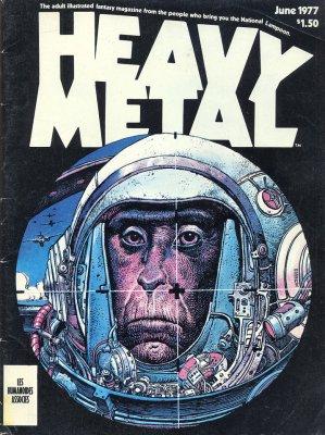 Heavy Metal magazine cover: the primate astronaut