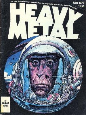 Heavy Metal magazine cover: the primate astronaut