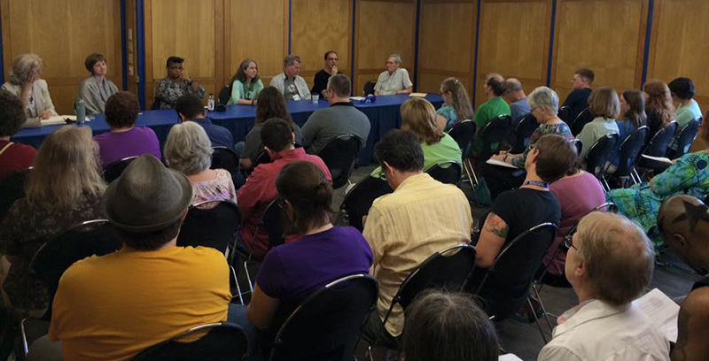 A full house at the authors' panel, at the 2015 Campbell Conference.