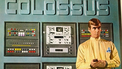 Charles Forbin stands in front of the Colossus AI in Colossus: The Forbin Project