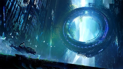 A giant ring between the ground and a massive structure above