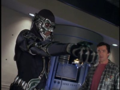 Hawkins in the M.A.N.T.I.S. suit